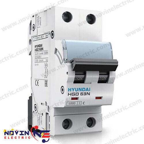 کلید مینیاتوری 2 پل 25 آمپر HYUNDAI سری HGD 63N/25A
