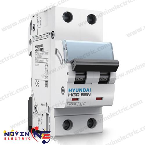 کلید مینیاتوری 2 پل 63 آمپر HYUNDAI سری HGD 63N/63A